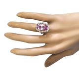 14.14 Carat Natural Kunzite 14K Yellow Gold Diamond Ring