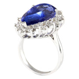 14.83 Carat Natural Tanzanite 14K White Gold Diamond Ring
