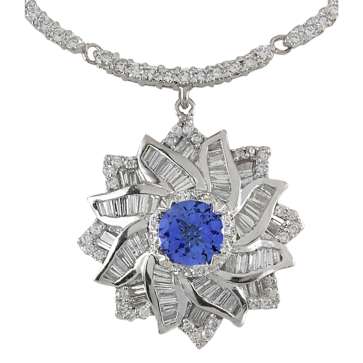 15.00 Carat Natural Tanzanite 14K White Gold Diamond Necklace
