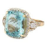 15.11 Carat Natural Aquamarine 14K Yellow Gold Diamond Ring