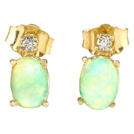 1.60 Carat Natural Opal 14K Yellow Gold Diamond Earrings