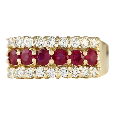 1.60 Carat Natural Ruby 14K Yellow Gold Diamond Ring