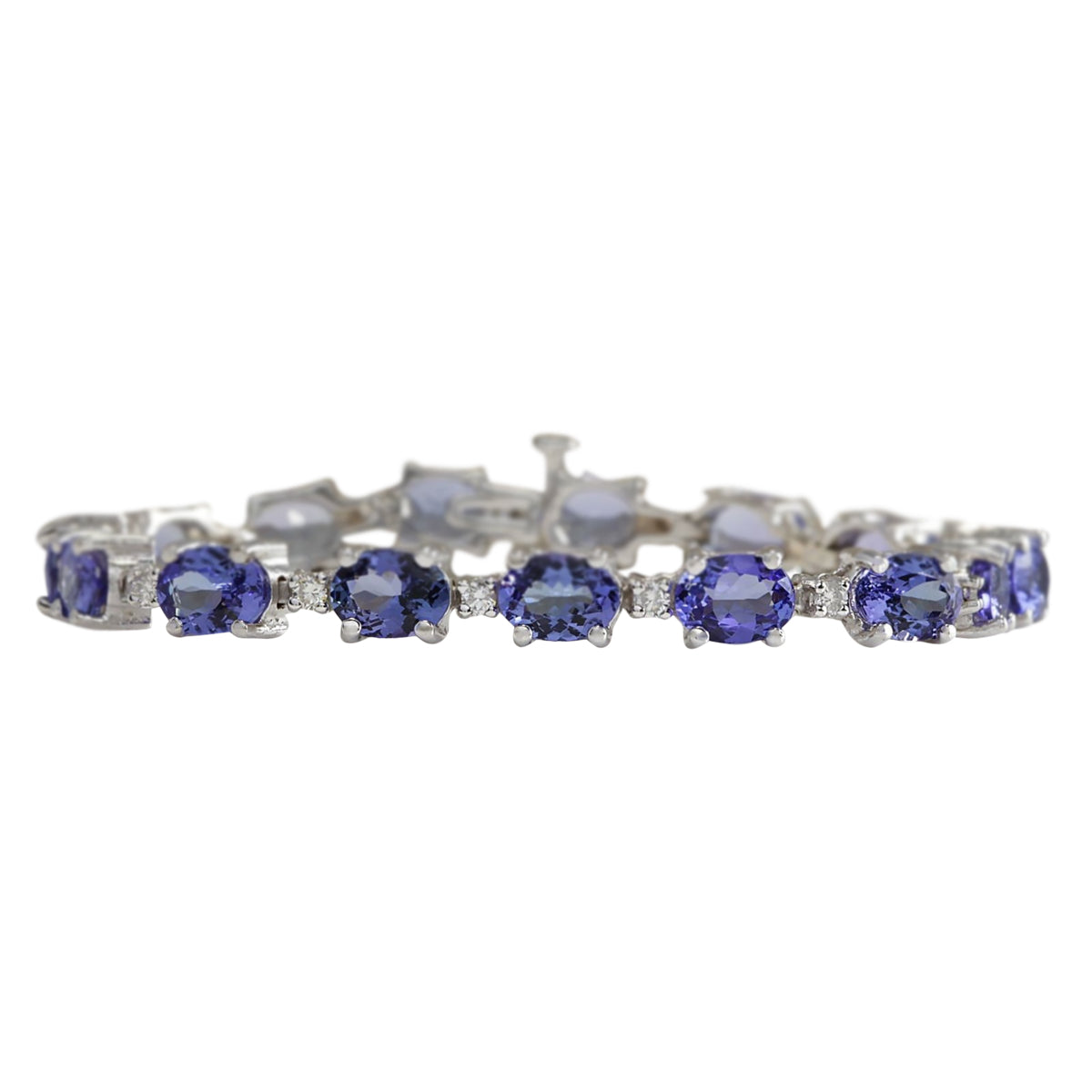 17.59 Carat Natural Tanzanite 14K White Gold Diamond Bracelet