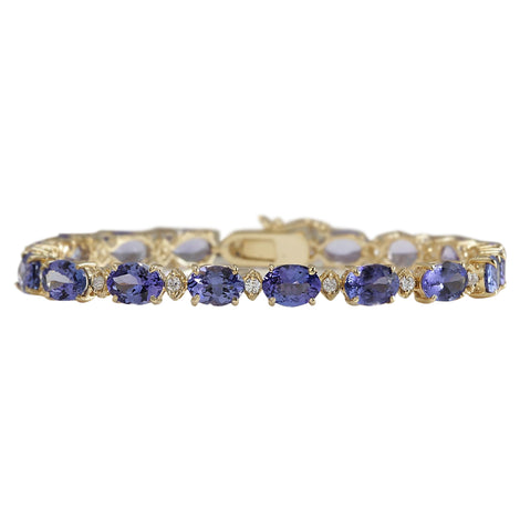 18.03 Carat Natural Tanzanite 14K Yellow Gold Diamond Bracelet