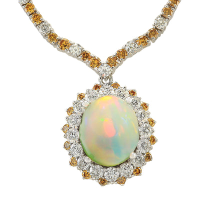 18.12 Carat Natural Opal 14K White Gold Diamond Necklace
