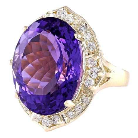 19.00 Carat Natural Amethyst 14K Yellow Gold Diamond Ring