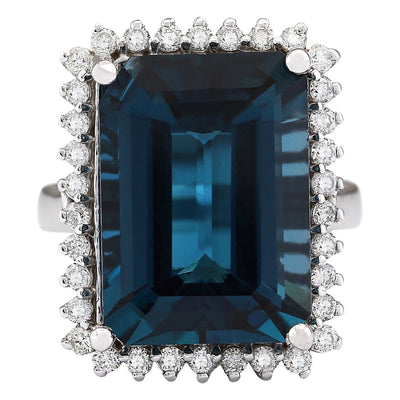 19.51 Carat Natural Topaz 14K White Gold Diamond Ring - Fashion Strada