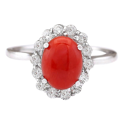1.95 Carat Natural Coral 14K White Gold Diamond Ring