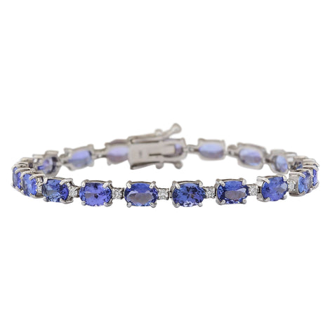 20.30 Carat Natural Tanzanite 14K White Gold Diamond Bracelet