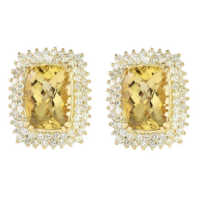 22.00 Carat Natural Citrine 14K Yellow Gold Diamond Earrings