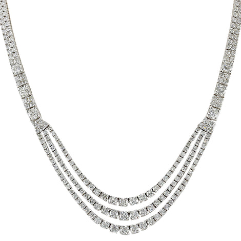24.00 Carat Natural Diamond 14K White Gold Necklace