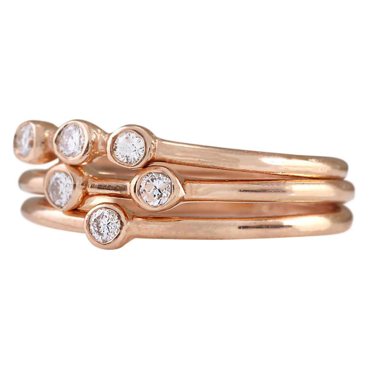 0.24 Carat Natural Diamond 14K Rose Gold Ring