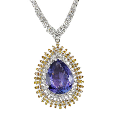 25.48 Carat Natural Tanzanite 14K White Gold Diamond Necklace