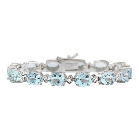25.75 Carat Natural Aquamarine 14K White Gold Diamond Bracelet