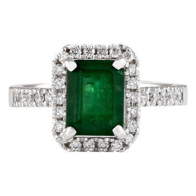 2.64 Carat Natural Emerald 14K White Gold Diamond Ring