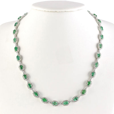 28.20 Carat Natural Emerald 14K White Gold Diamond Necklace