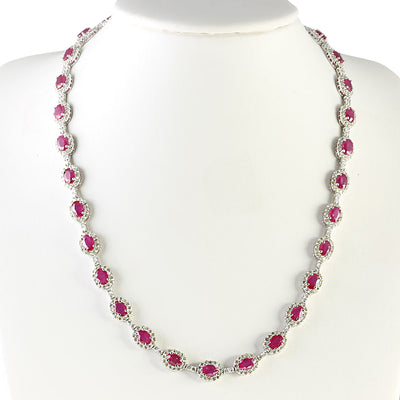 28.20 Carat Natural Ruby 14K White Gold Diamond Necklace