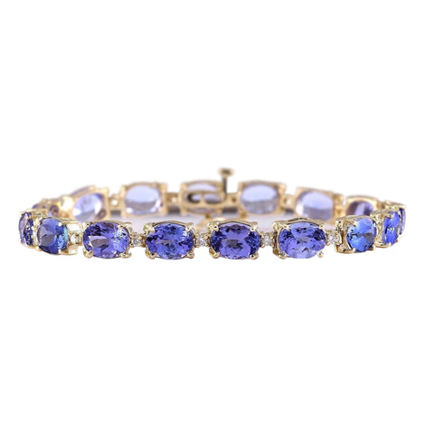 29.50 Carat Natural Tanzanite 14K Yellow Gold Diamond Bracelet