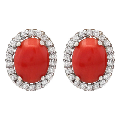 2.95 Carat Natural Coral 14K White Gold Diamond Earrings - Fashion Strada