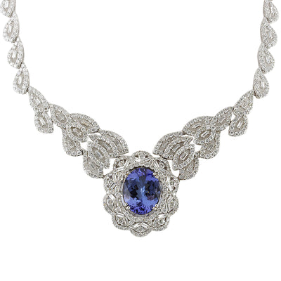 31.51 Carat Natural Tanzanite 14K White Gold Diamond Necklace