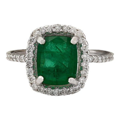 3.21 Carat Natural Emerald 14K White Gold Diamond Ring