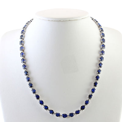34.98 Carat Natural Sapphire 14K White Gold Diamond Necklace