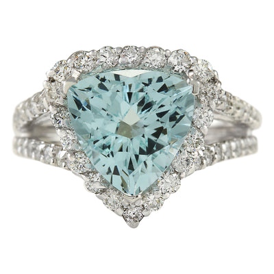 3.52 Carat Natural Aquamarine 14K White Gold Diamond Ring