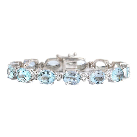 35.75 Carat Natural Aquamarine 14K White Gold Diamond Bracelet