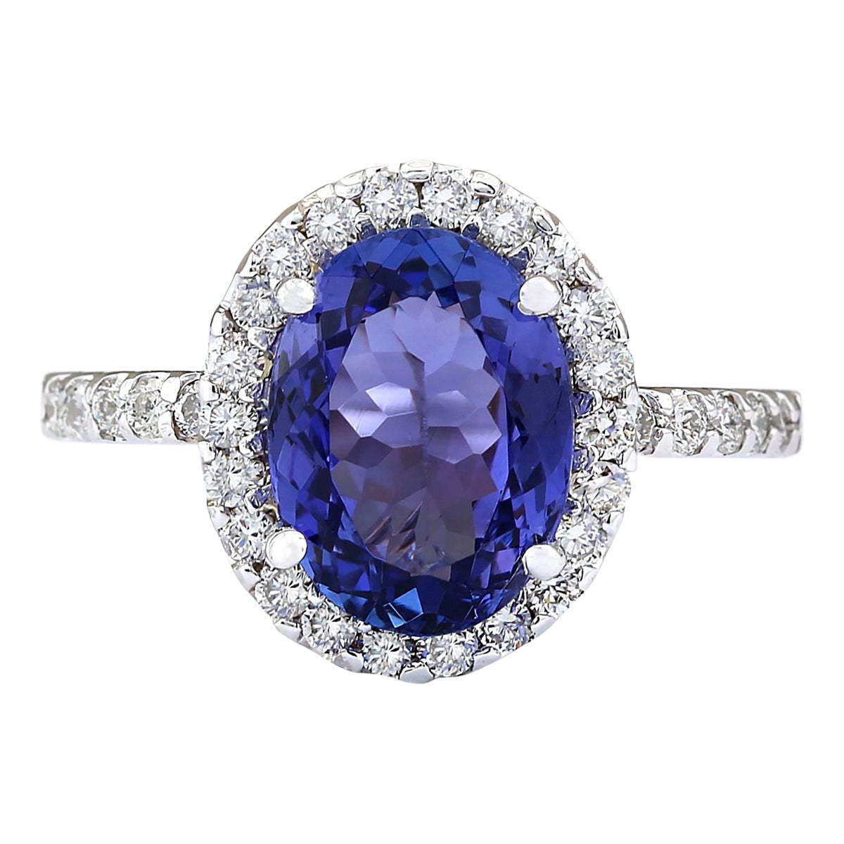 3.63 Carat Natural Tanzanite 14K White Gold Diamond Ring - Fashion Strada