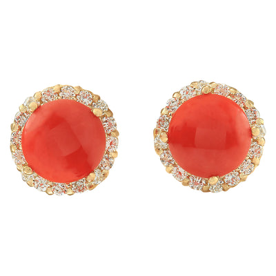 3.65 Carat Natural Coral 14K Yellow Gold Diamond Earrings - Fashion Strada
