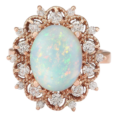 4.15 Carat Natural Opal 14K Rose Gold Diamond Ring
