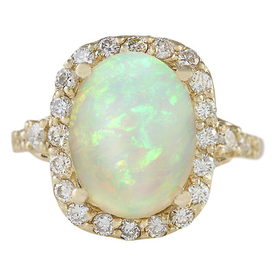 4.40 Carat Natural Opal 14K Yellow Gold Diamond Ring
