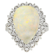 4.93 Carat Natural Opal 14K White Gold Diamond Ring