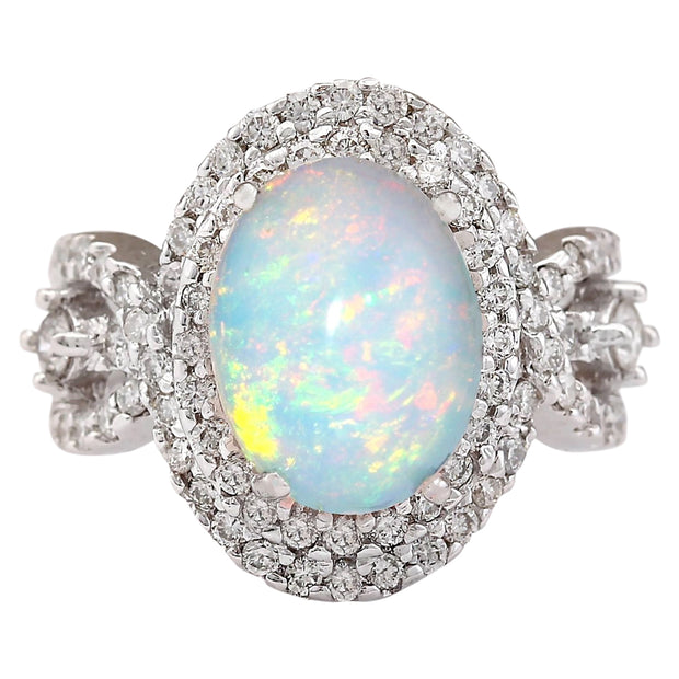 5.07 Carat Natural Opal 14K White Gold Diamond Ring