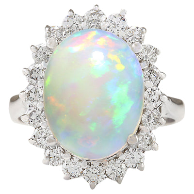 5.19 Carat Natural Opal 14K White Gold Diamond Ring