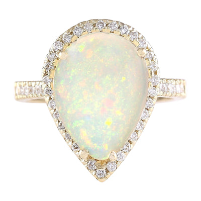 5.27 Carat Natural Opal 14K Yellow Gold Diamond Ring