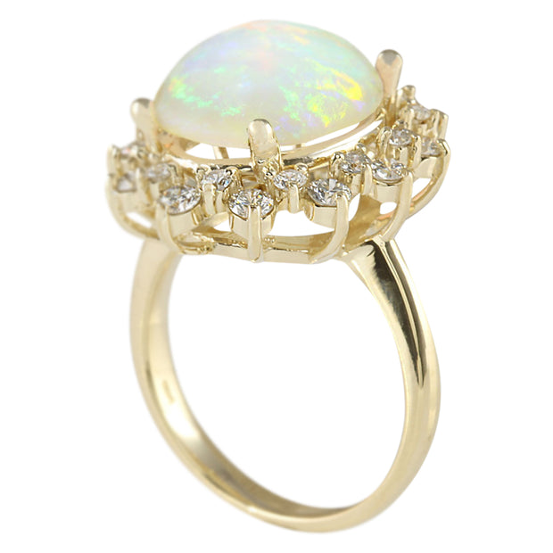 5.45 Carat Natural Opal 14K Yellow Gold Diamond Ring