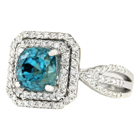 5.46 Carat Natural Zircon 14K White Gold Diamond Ring