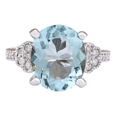 5.89 Carat Natural Aquamarine 14K White Gold Diamond Ring