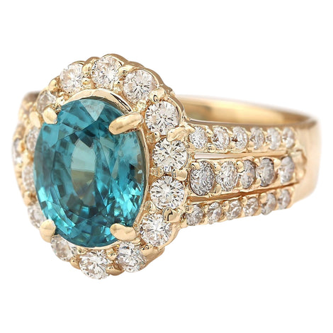 5.89 Carat Natural Zircon 14K Yellow Gold Diamond Ring