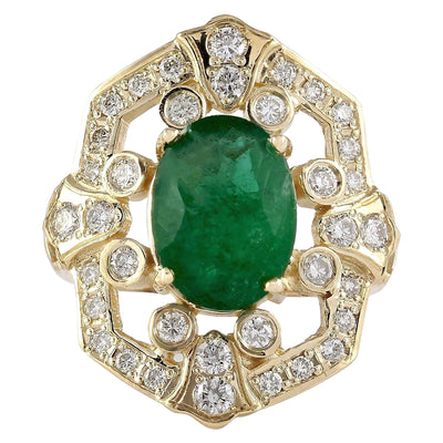 6.00 Carat Natural Emerald 14K Yellow Gold Diamond Ring