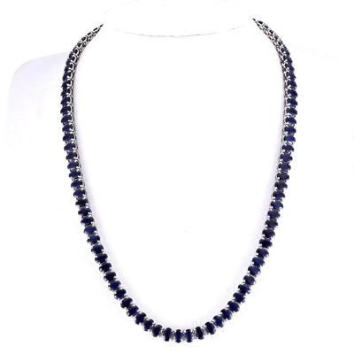 62.00 Carat Natural Sapphire 14K White Gold Necklace
