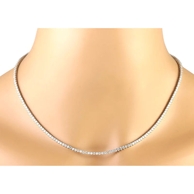 6.20 Carat Natural Diamond 14K White Gold Necklace