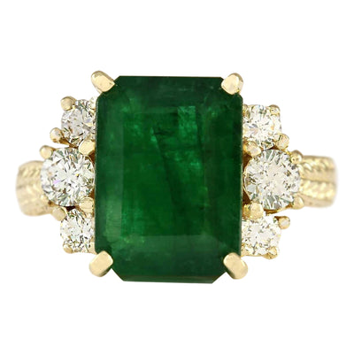 6.38 Carat Natural Emerald 14K Yellow Gold Diamond Ring