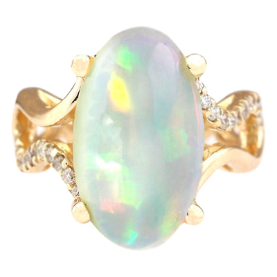 6.50 Carat Natural Opal 14K Yellow Gold Diamond Ring