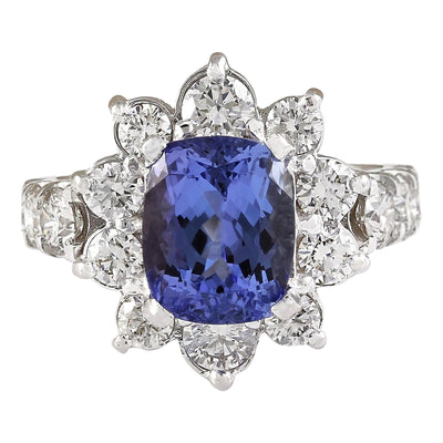 6.56 Carat Natural Tanzanite 14K White Gold Diamond Ring