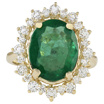 6.77 Carat Natural Emerald 14K Yellow Gold Diamond Ring
