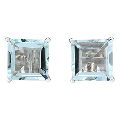 6.93 Carat Natural Aquamarine 14K White Gold Earrings - Fashion Strada