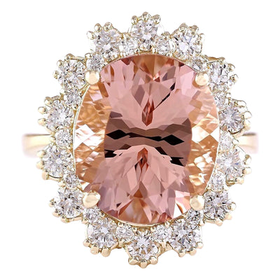 8.65 Carat Natural Morganite 14K Yellow Gold Diamond Ring