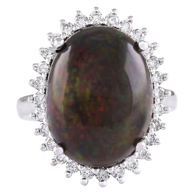 8.66 Carat Natural Opal 14K White Gold Diamond Ring